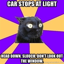 Anxiety Cat - car stops at light head down. slouch. don't look out the window.