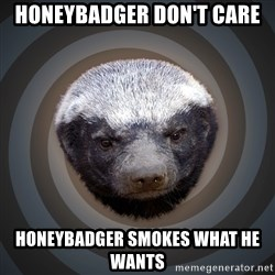 Fearless Honeybadger - honeybadger don't care Honeybadger smokes what he wants