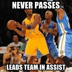 Kobe double team - never passes leads team in assist