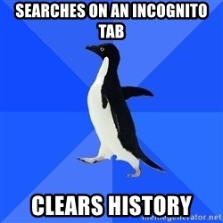 Socially Awkward Penguin - searches on an incognito tab clears history