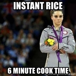 unimpressed McKayla Maroney 2 - INSTANT RICE 6 MINUTE Cook Time
