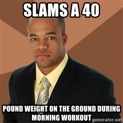 Successful Black Man - slams a 40 pound weight on the ground during morning workout