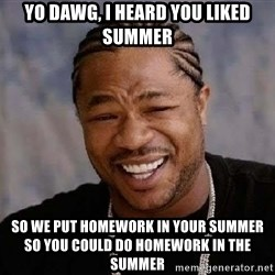 Yo Dawg - Yo dawg, I heard you liked summer So we put homework in your summer so you could do homework in the summer