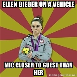 Not Impressed Makayla - ellen bieber on a vehicle mic closer to guest than her