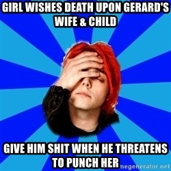 imforig - girl wishes death upon Gerard's wife & child give him shit when he threatens to punch her