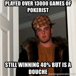 Scumbag Steve - played over 13000 games of pokerist still winning 40% but is a douche