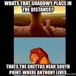 Lion King Shadowy Place - Whats that shadowy place in the distance? thats the ghettos near south point, where anthony lives