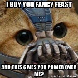 bane cat - I BUY YOU FANCY FEAST AND THIS GIVES YOU POWER OVER ME?