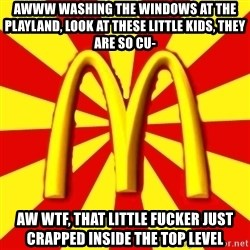 McDonalds Peeves - awww washing the windows at the playland, look at these little kids, they are so cu- AW WTF, that little fucker just crapped inside the top level