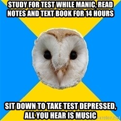 Bipolar Owl - Study for test while manic, read notes and text book for 14 hours sit down to take test depressed, all you hear is music