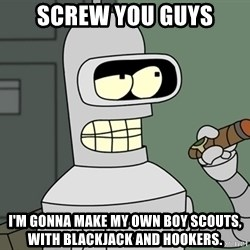 Bender - screw you guys I'm gonna make my own boy scouts, with blackjack and hookers.