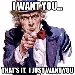 Uncle Sam Says - i want you... that's it.  I just want you