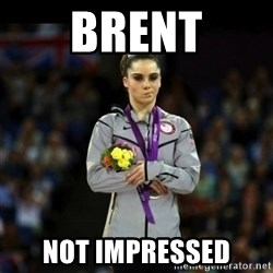 Unimpressed McKayla Maroney - Brent not impressed