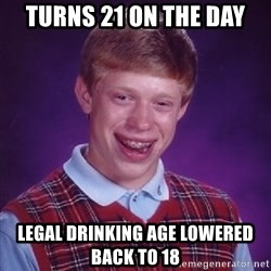 Bad Luck Brian - Turns 21 on the day Legal Drinking age lowered back to 18