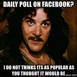Inigo Montoya - Daily poll on facebook?   I do not thinks its as popular as you thought it would be