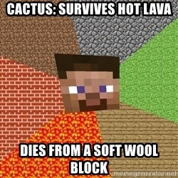 Minecraft Guy - cactus: survives hot lava dies from a soft wool block