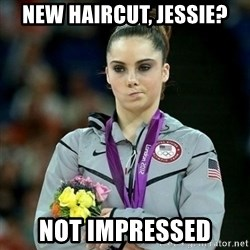 McKayla Maroney Not Impressed - new haircut, jessie? not impressed