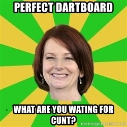 Julia Gillard - perfect dartboard what are you wating for cunt?
