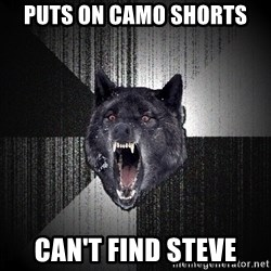 flniuydl - PUTS ON CAMO SHORTS CAN'T FIND STEVE