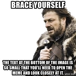 Winter is Coming - Brace yourself The text at the bottom of the image is so small that you'll need to open the meme and look closely at it.