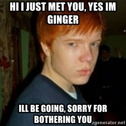 Flame_haired_Poser - hi i just met you, yes im ginger Ill be going, sorry for bothering you