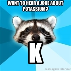 Lame Pun Coon - want to hear a joke about potassium? k