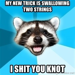 Lame Pun Coon - my new trick is swallowing two strings i shit you knot