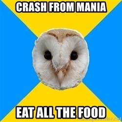Bipolar Owl - crash from mania eat all the food