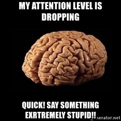 Evil Brain - MY ATTENTION LEVEL IS DROPPING QUICK! SAY SOMETHING EXRTREMELY STUPID!!