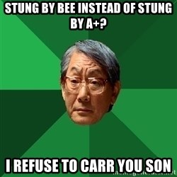 High Expectations Asian Father - Stung by bee instead of stung by A+? I refuse to carr you son