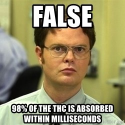 Dwight Schrute - false 98% of the thc is absorbed within milliseconds