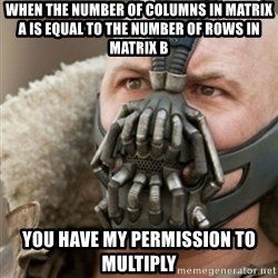 Bane - when the number of columns in matrix A is equal to the number of rows in matrix B you have my permission to multiply
