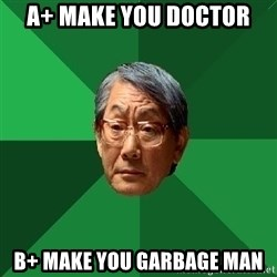 High Expectations Asian Father - a+ make you doctor b+ make you garbage man