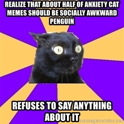 Anxiety Cat - Realize that about half of anxiety cat memes should be socially awkward penguin refuses to say anything about it