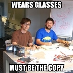 Naive Junior Creatives - wears glasses must be the copy