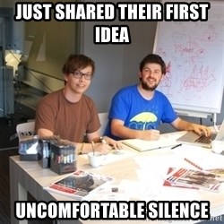 Naive Junior Creatives - just shared their first idea uncomfortable silence