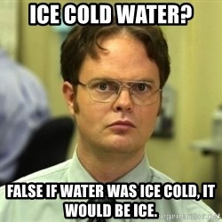 Dwight Meme - ICE COLD WATER? FALSE IF WATER WAS ICE COLD, IT WOULD BE ICE.