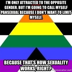 Bad Straight Ally - I'm only attracted to the opposite gender, but I'm going to call myself pansexual because I don't want to limit myself. Because that's how sexuality works, right?