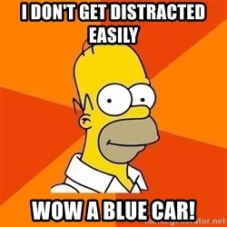 Homer Advice - I DON'T GET DISTRACTED EASILY WOW A BLUE CAR!