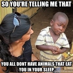 Skeptical African Child - so you're telling me that you all dont have animals that eat you in your sleep