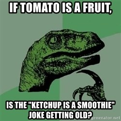 """Philosoraptor - If tomato is a fruit, is the """"Ketchup is a smoothie"""" joke getting old?"""