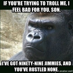 Rustled Jimmies - if you're trying to troll me, i feel bad for you, son. I've got ninety-nine jimmies, and you've rustled none.