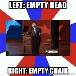 Invisible Obama - LEFT: Empty head Right: Empty chair