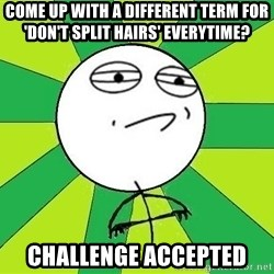 Challenge Accepted 2 - COME UP WITH A DIFFERENT TERM FOR 'DON'T SPLIT HAIRS' EVERYTIME? CHALLENGE ACCEPTED