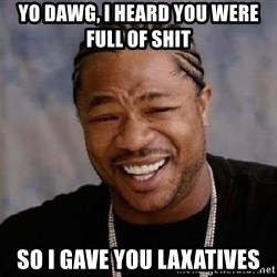 Yo Dawg - yo dawg, i heard you were full of shit  so i gave you laxatives