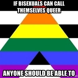 Bad Straight Ally - if bisexuals can call themselves queer anyone should be able to