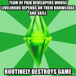 Sims 3 - TEAM OF PAID DEVELOPERS WHOSE LIVELIHOOD DEPENDS ON THEIR KNOWLEDGE AND SKILL ROUTINELY DESTROYS GAME