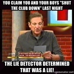 """Truthful Maury - you claim you and your boys """"shut the club down"""" last night THe lie detector determined that was a lie!"""
