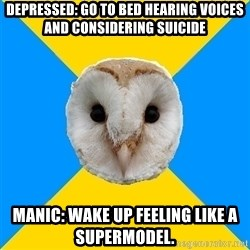 Bipolar Owl - depressed: go to bed hearing voices and considering suicide Manic: wake up feeling like a supermodel.