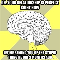 Traitor Brain - oh, Your relationship is perfect right now let me remind you of the stupid thing he did 3 months ago